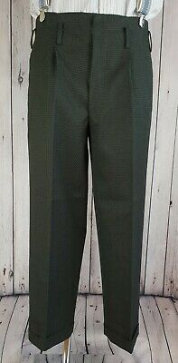 Vtg 40s/50s Button Fly Hollywood Waist Wool Trousers Turn Ups  W32 L27 JV77