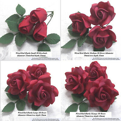 Red Roses Wired Sugar Flowers wedding birthday cake decorations 5 SIZES