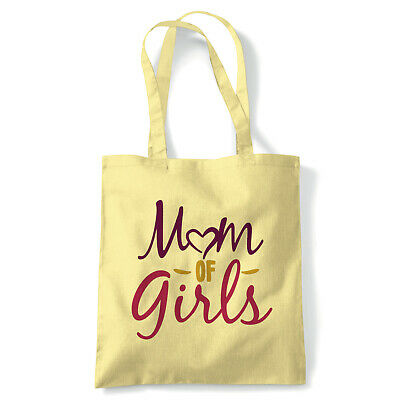 Mom of Girls, Heart Tote - Reusable Shopping Canvas Bag Gift Her