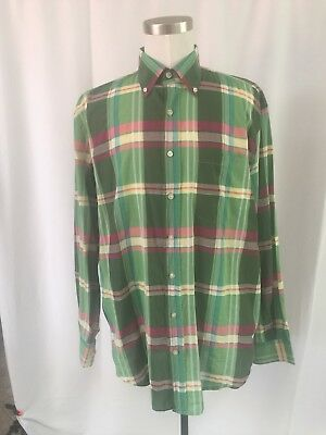 Hickey Freeman Green pink ivory plaid linen long sleeve button down Size Large