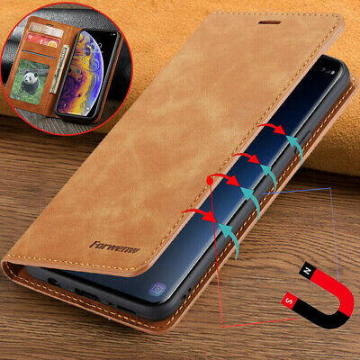 For iphone 5S SE 6S 7 8 Plus X Magnetic Genuine Leather Wallet Flip Case Cover