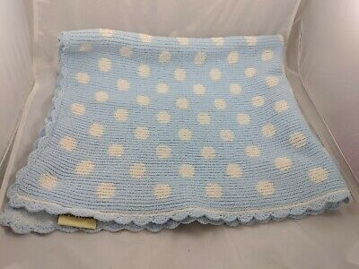 """Nursery Rhyme Blue Baby Blanket Dots Chenille Scallopped About 37"""" x 32"""""""