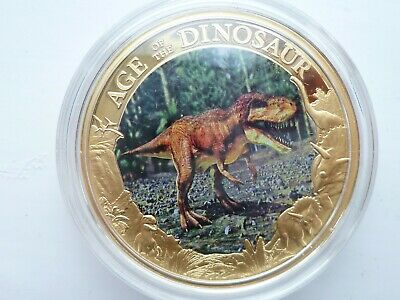 Cook Islands 'Age Of The Dinosaurs' T-Rex $1, 2014  24ct Gold Plated Coin + COA