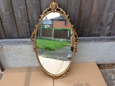 Vintage French Style Ornate Gold Gilt Metal Oval Wall Mirror