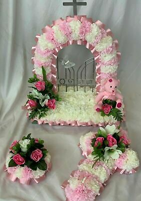 Baby Funeral Flower Tribute Package Artificial Silk Wreath Gates of Heaven Cross