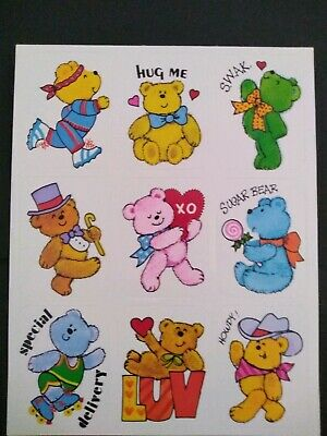 Vintage 80's Stickers - Vintage Eureka Cute Bear Stickers Lot of 9 MINT
