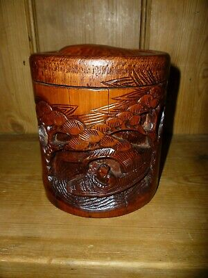 Vintage Carved Chinese Bamboo Pot And Lid