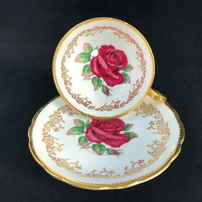 1960s Paragon Fancy Johnson-type Floating RED ROSE Cup and Saucer MINT! A3882