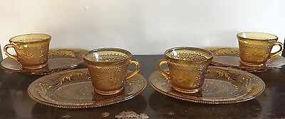 Vintage Indiana Glass Amber TIARA Luncheon Snack Set 4 Snack Plates 4 Cups