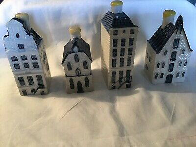 KLM BOLS Delft Blue Miniature Canal Houses Sealed Evaporated # 7, 57, 70 & 69