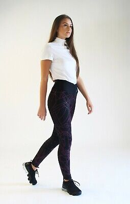 NEW IN !! Gallop Equestrian Abstract Riding Tights Full Silicone Seat Leggings