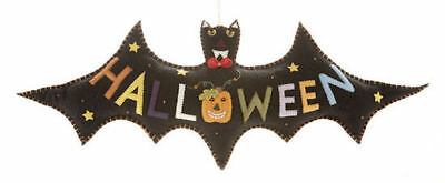 Delton Primitive Style Hanging  Bat w Pumpkin Beads Felted Wool Halloween 22""