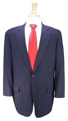 * PAUL STUART * Navy Blue w/ Purple Pinstripe Super 150's Wool 2-Btn Suit 41R