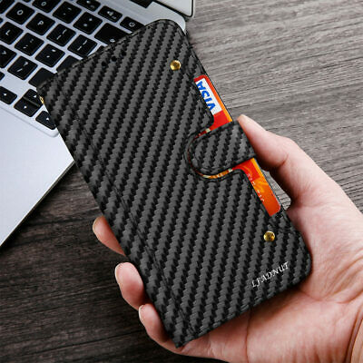 For Huawei P20 P30 Pro Carbon Fibre Leather Wallet Flip Slim Magnetic Case Cover