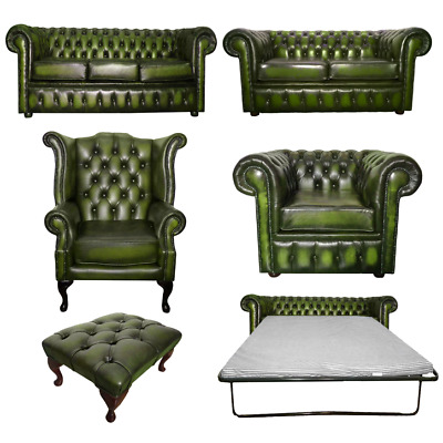 Genuine Leather Antique Green Chesterfield Sofa Settee 3 Seater Armchair Stool