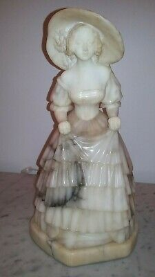 Stunning marble alabaster Victorian lady girl with hat and dress 1920s