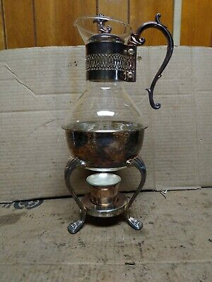 Coffee Carafe Warmer FB Rogers Corning Glass Vintage Silver Plate & Candle #10