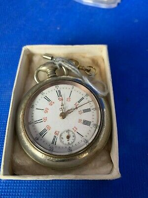 Antique  Silver Plated Open Faced Pocket Watch with white enamel 24 hour dial