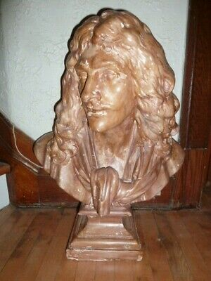 Very rare large antique French plaster bust of Molière circa 1880s
