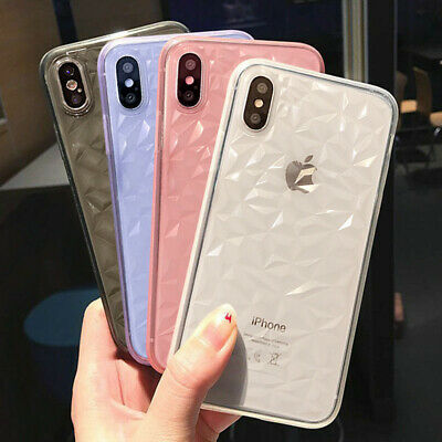 For Apple iPhone 11 Pro Max XR XS 7 3D Diamond Soft Rubber Gel Clear Case Cover