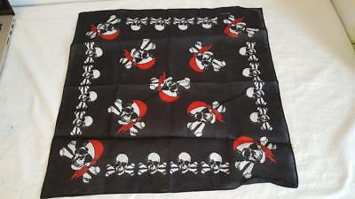 "19"" Skull Cross Bone Skeleton Bandana Halloween Cotton Biker Harley Scarf Unisex"