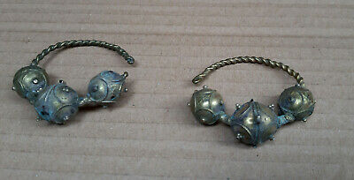 Antique Vintage Greek Balkan Traditional Women's Silver and Gold Earrings 19 c