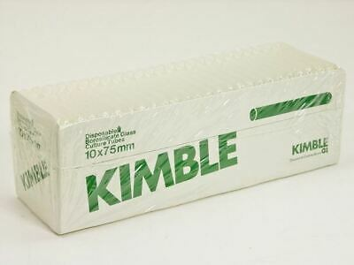KIMBLE: 4 CASES: 4000 COUNT DISPOSABLE BOROSILICATE GLASS CULTURE TUBES 10x75mm