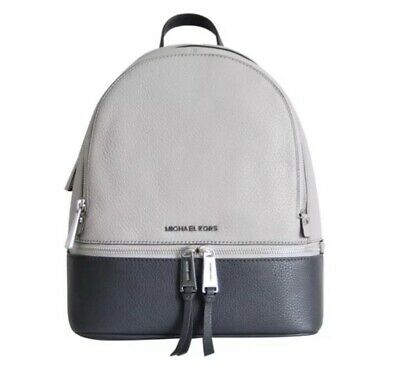 NWT Michael Kors Rhea Color Block Medium Leather Backpack $298 Gray & Charcoal