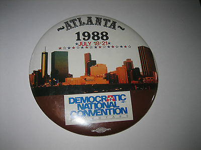 "1988 Atlanta,Georgia Democratic National Convention 6"" DIA PINBACK PIN BUTTON"