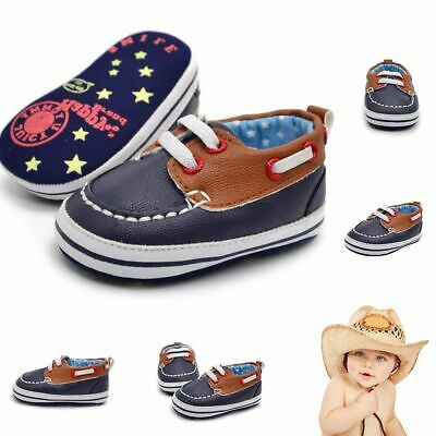 Infants First Walker Boys Non-slip Baby Shoes PU Leather Prewalker Soft Bottom