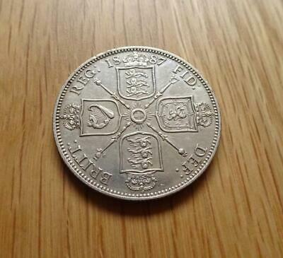 Victoria Sterling Silver Florin 1887 2 Shillings Nice Coin Great Britain Uk