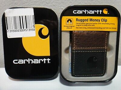 Carhartt Mens Rugged Money Clip Strong Magnet Genuine Leather Color Brown Black