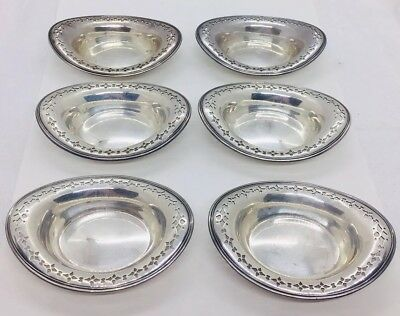Tiffany & Co. Antique Sterling Silver Set Of 6 Pierced Design Nut Dishes