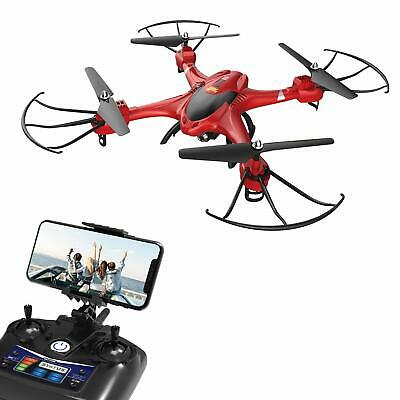 FPV Drone with 720P HD Camera WIFI Live Video RC Quadcopter Headless Mode Red