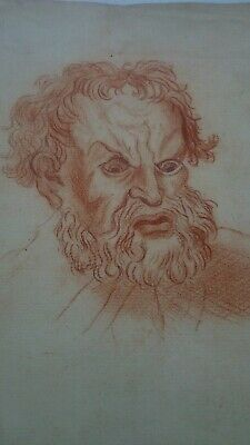 Antique 18th century French Italian Masters red chalk drawing painting signed