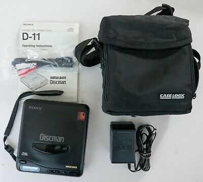 Sony D-11 CD Walkman, Sony AC Adapter , Manual, Case   IMMACULATE   TESTED