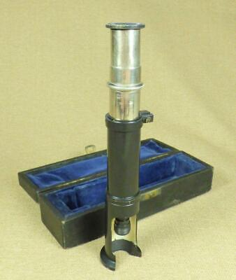 Vintage/ Antique FIELD MICROSCOPE, BLACK LACQUERED BRASS - with Reticle Scale