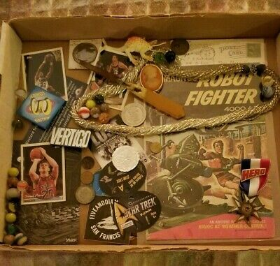 Junk drawer lot: Many fun items including sports cards, jewelry, comic book,