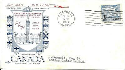 Jet Surcharge, 8c on 7c, FDC# 430