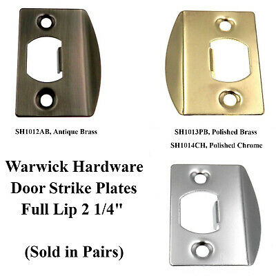 Pair of Warwick Door Full Lip Strike Plates, Antique or Polished Brass or Chrome