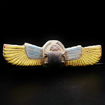 ANTIQUE Egyptian Winged Scarab Beetle Sculpture (Khepri)