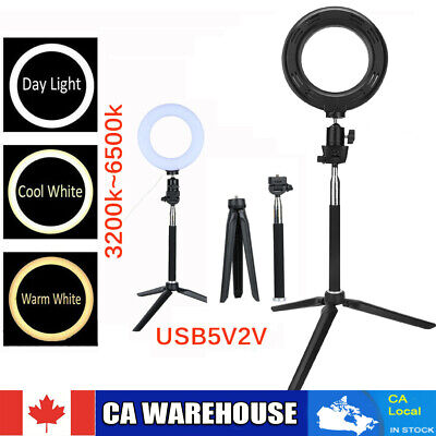 """6"""" 3 Light Modes LED Ring Light with Tripod Stand for Live Streaming 3200K-6500K"""