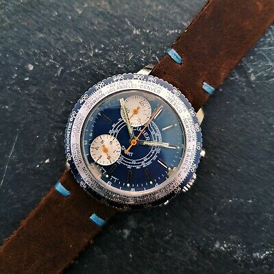 Vintage Cimier Sport Chronograph Watch, Blue Dial and Handmade Leather Strap