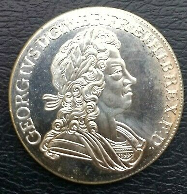Nice Rare George I 1718 Roses & Plumes Silver Plated Crown In Unc Condition