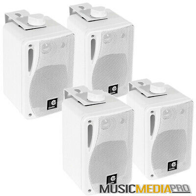 4x 80W Wall Mount box Speakers Surround Home/Shop Cable+Wall Mounts White 2 pair