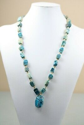 Egyptian Revival Scarab Necklace Vintage Faience Ceramic Beads Turquoise Blue