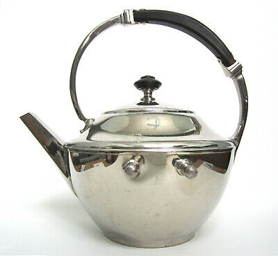 MANNING BOWMAN QUALITY-MERIDEN CONN-ART DECO TEAPOT, METAL & WOOD HANDLE; prongs