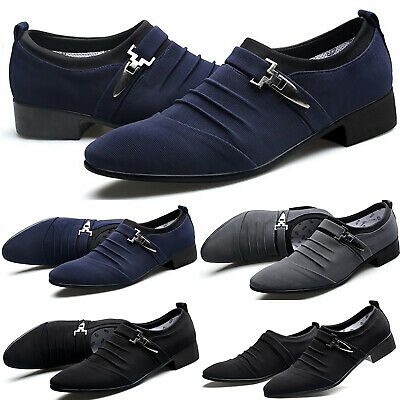 Mens Formal Canvas Casual Pointed Toe Buckle Oxfords Loafers Slip On Dress Shoes