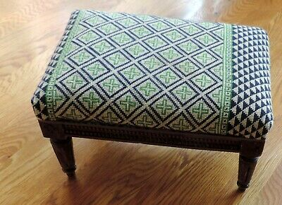 Antique Footstool Needlepoint Geometric Design Dark Walnut Legs Detailed Carving