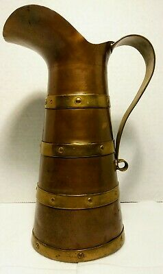 Antique or Vintage Copper And Brass Banded Pitcher, Water Jug, Decanter Dec Vase